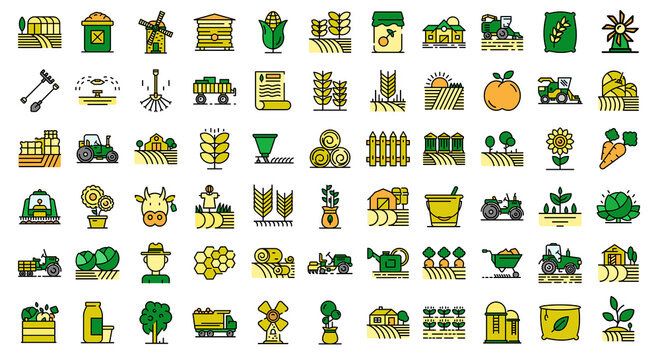 Farmer icons set. Outline set of farmer vector icons thin line color flat on white