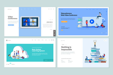 Web page design templates of video conference, education, online learning. Vector illustration concepts for website development.
