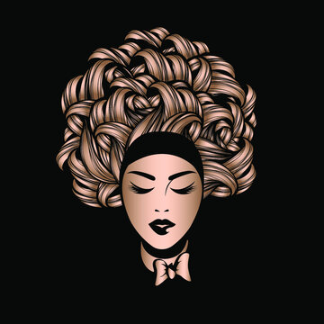 Hair salon and beauty studio logo.Beautiful woman with curly, Afro hairstyle and elegant makeup.Fashion, cosmetics and spa icon.Front view portrait.Young lady face.
