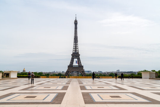 Paris, France - May 11 2020: Deserted Trocadero square with eiffel tower in background on the first day of the Covid-19 Lockdown end in France.