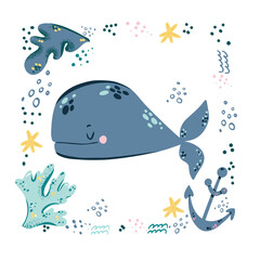 Childish print with cute lovely baby whale vector illustration. Under water sea or ocean animal. Creative kids animal character for print, poster, textile, fabric,room decor, cards, nursery clothing.