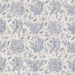 Seamless french farmhouse linen printed floral damask background. Provence blue gray linen pattern texture. Shabby chic style old woven flax background. Textile rustic all over print