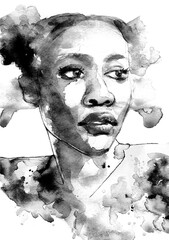 Beautiful modern art portrait of a black woman in profile with color splatter in black and white