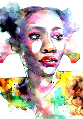 Beautiful modern art portrait of a black woman in profile with color splatter
