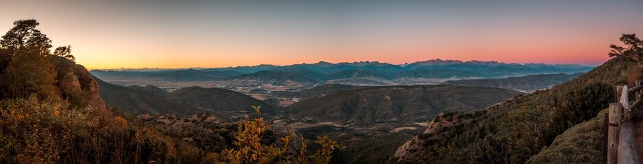 Panoramic shot of a beautiful landscape in Jaca, Spain