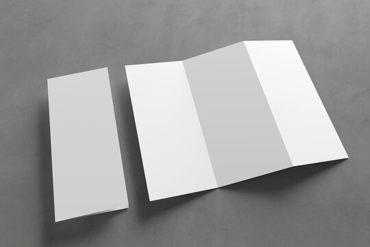 Trifold brochure mock up on a background - 3d rendering