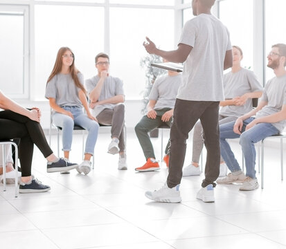 group of young people at a seminar in the conference room