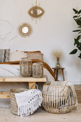 Cozy apartment in boho chic style interior with comfort bedroom