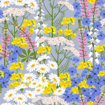Beautiful carpet of wildflowers. Seamless vector illustration. For textile decoration, packaging, web design.