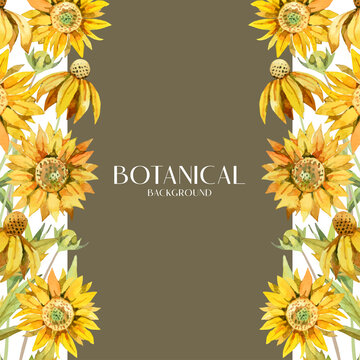 Water color yellow sunflower botanical bouquet on side design, brown and white background illustration vector. Suitable for wedding and various design elements.