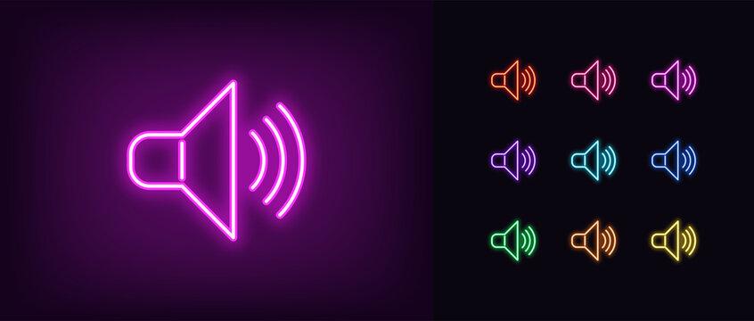 Neon speaker icon. Glowing neon sound sign