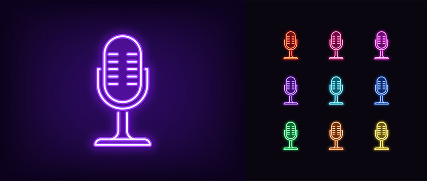 Neon microphone icon. Glowing neon mike sign