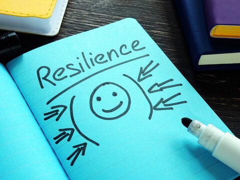 Handwritten word resilience in the blue notebook.