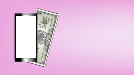 Poster smartphone with a white screen and a paper money certificate. USA 1000000 dollars banknote with shadows EPS 10