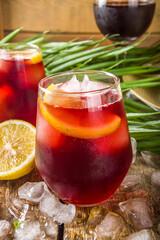 Tinto de Verano or vino de verano, Spanish Wine Cocktail. Refreshment acoholic drink sangria. Cool...