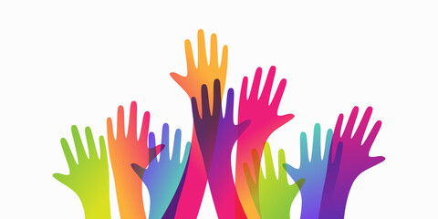 Colorful up hands. Charity teamwork vector concept illustration