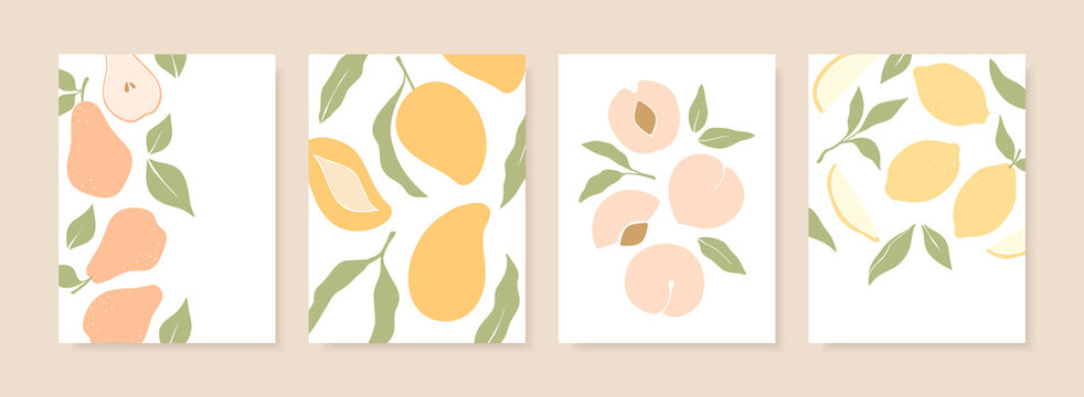 Stylish cover designs with summer fruits. Vector templates for postcards, print, posters, brochures, etc. Trendy hand drawn illustration.
