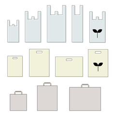 レジ袋 ショッピングバッグ セット / vector eps
