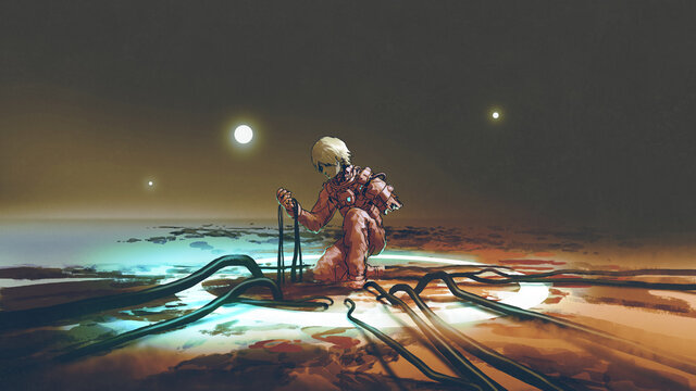 cyborg with a torn arm siting on the ground and charging the energy from power cables, digital art style, illustration painting