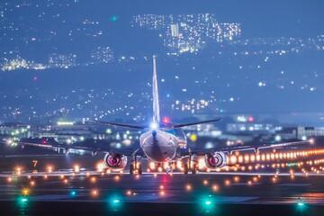 Airplane Flying Over Illuminated City Against Sky At Night - fototapety na wymiar
