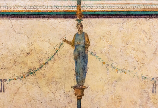 Detail of ancient colorful mural illustration painted on the wall of an old roman house