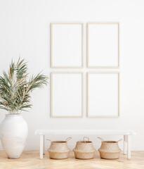 Papiers peints Pierre, Sable Mock up frame in home interior background, white room with natural wooden furniture, Scandi-Boho style, 3d render