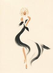fashion illustration. watercolor painting