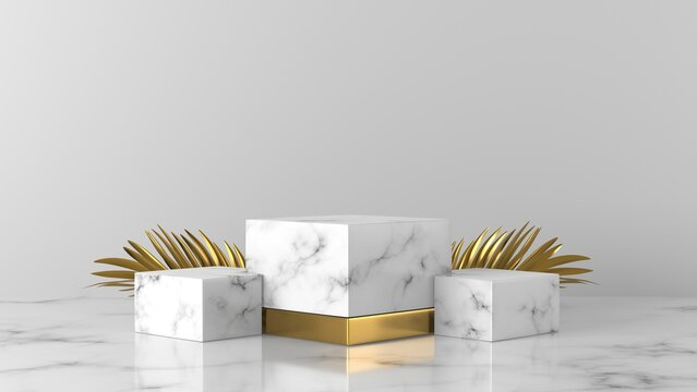white marble box podium with golden leaves in white background