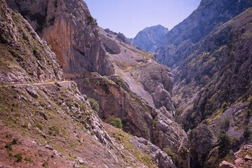 Poster Canyon Trekking In The Ruta Of Cares, In The Asturian Mountain Of Spain