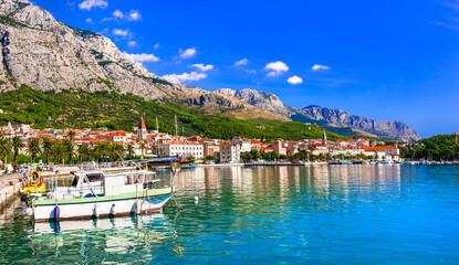 Famous Adriatic coast - Makarska riviera in Dalmatia. Town Makarska, promenade and marine