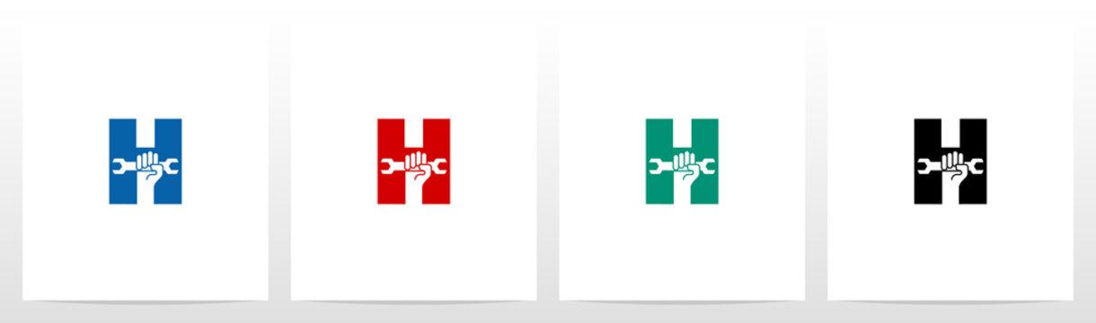 Hand Holding Wrench On Letter Logo Design H