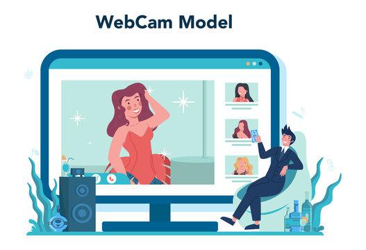 Female stripper online service or platform. Pole dancing girl in club