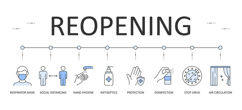 Web banner Reopening guidance for cleaning and disinfecting public spaces. Editable Stroke. Respirator mask distance hand hygiene antiseptics. Disinfection protection, stop virus air circulation