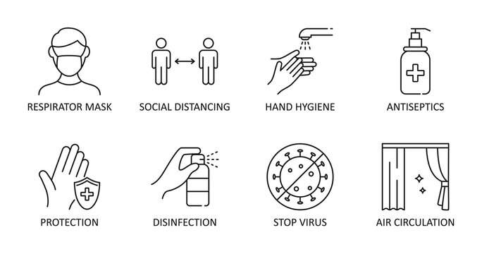 Vector icons. Reopening guidance for cleaning and disinfecting public spaces. Editable Stroke. Respirator mask distance hand hygiene antiseptics. Disinfection protection, stop virus air ventilation