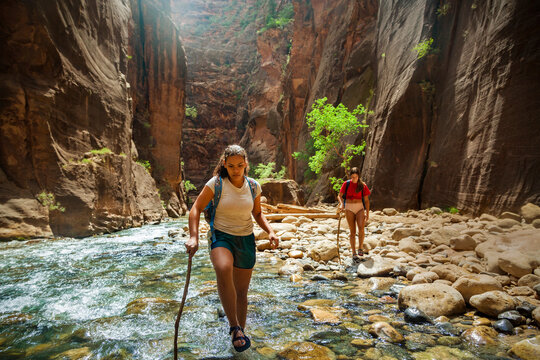 Group of diverse people hiking through a river at Zion National Park. Exploring the beauty of the Narrows and the beautiful canyons of southern Utah.