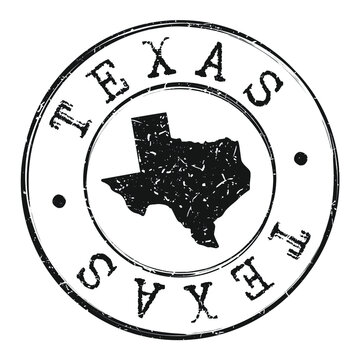 Texas Silhouette Postal Passport Stamp Round Vector Icon.