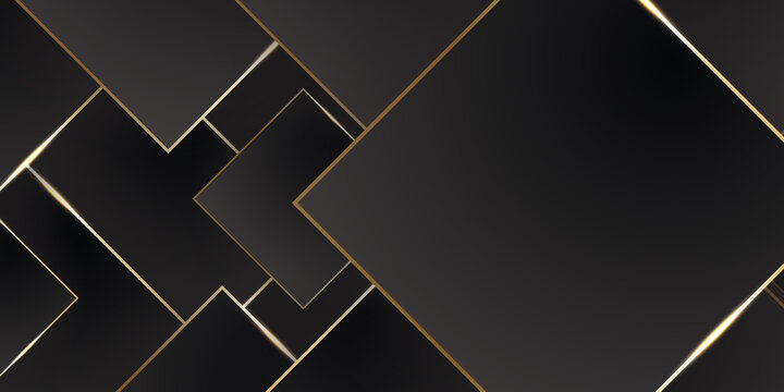 Black and golden smooth stripes abstract corporate graphic design. Geometric dark material background. Vector illustration