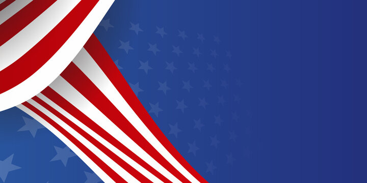 Web banner with elements of the American national flag, many stars. Decorative USA banner suitable for background, headers, posters, cards, website. Vector illustration. America Background