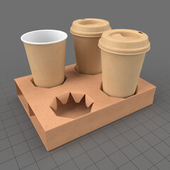 Biodegradable coffee cups with holder