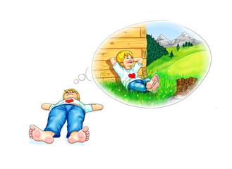 Junge Kind liegt barfuß bequem Hände hinter Kopf am Boden Denkblase nachdenken Traum Wanderer Schuhe Pause Berge Gebirge Allgäu Bayern Österreich Schweiz Tirol Urlaub Herz Natur Traumurlaub träumen
