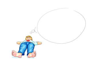Junge Kind liegt barfuß bequem Hände hinter Kopf am Boden Hintergrund weiß Denkblase leer Platzhalter Schüler genießen ohne Schuhe Pause ausruhen Urlaub Herz entspannen Blick nach oben lächeln Freude