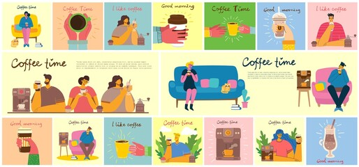 Smiling people friend drinking coffee and talking. Coffee time, break and relaxation vector concept cards. Vector illustration in flat design style