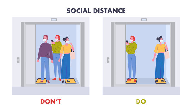 Infographic Don't and Do social distancing for covid-19 coronavirus. Social distancing in an elevator (lift), safety instruction. People wearing mask keep distance. New normal lifestyle after pandemic