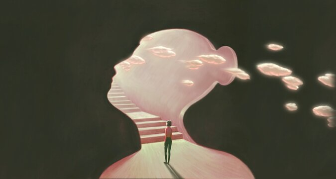 Surreal art of freedom dream success and hope concept  , ambition idea artwork, painting  young woman  looking at staircase , conceptual illustration