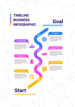 Vector business illustration of timeline infographics template with business icon on white background with text.