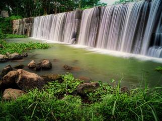 Waterfall from water dam long exposure shot