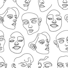 Seamless pattern with human faces. One line drawing.