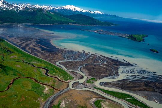 Aerial View Of  Shoreline At Katmai National Park, Alaska.