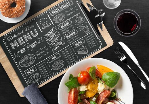 Chalkboard Style Restaurant Menu Layout
