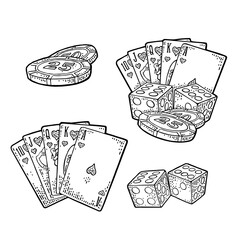 Casino set. Vector vintage black engraving isolated on white